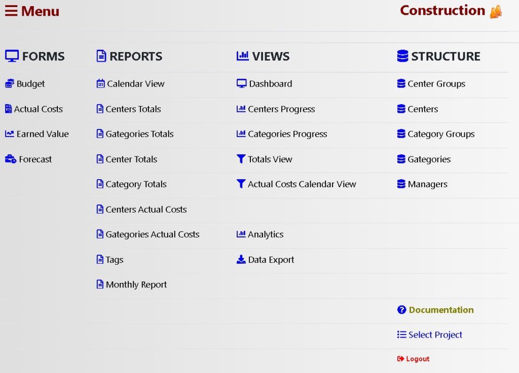 Rabio Cost Control Software screenshot menu